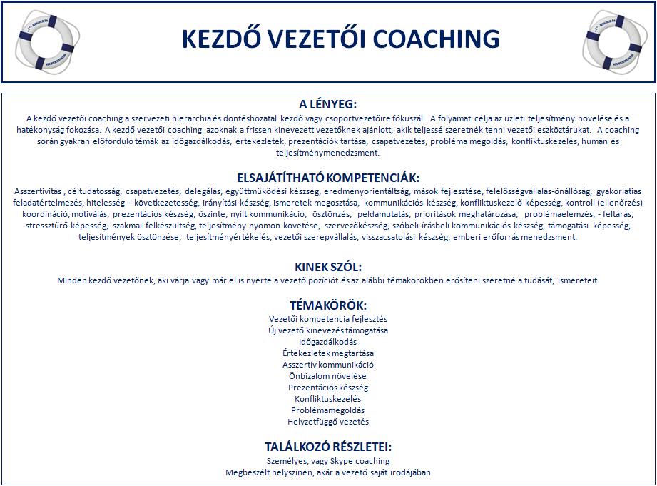 kezdővezetői coaching